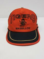 Vintage MASSILLON TIGERS 3 Stripe Mesh Truckers Snapback Hat High School Used