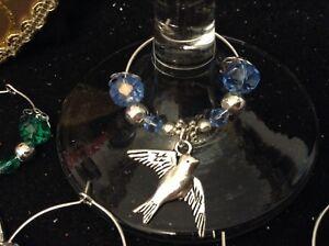 Wine Glass Charms - Beaded - Set of 6 - Bird (Swallow)