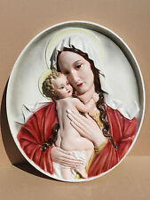 KERAMOS WIEN 51x44cm Hl. Maria+JESUSKIND Wandbild Madonna made in Austria 1673.4