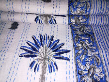 Hand Block Print Kantha Quilt Palm Tree kantha bed cover throw Indian Bedspread,