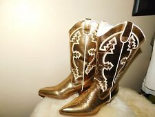 BLOSSOM COLLECTION GOLD  WITH CONTRAST WHITE STITCHING BOOTS SZ 8
