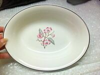 "1960's Patricia by Syracuse China Pink Flowers 10"" Oval Serving Bowl White Silve"