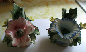 Vintage Italian Nuova Capodimonte Floral Pair Of Candle Stick Holders