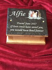 Memorial Ashes Box Urn with Personalised Photo Plaque & Oak Casket Small Dog/Cat