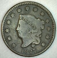 1827 Coronet Head US One Cent Penny Coin 1c Large Cent Copper Coin Good