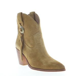 Frye Faye Concho Short 70368 Womens Brown Leather Slip On Western Boots 6.5