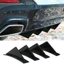 4Pcs Universal Lower Rear Body Bumper Diffuser Shark Fin Kit ABS Spoiler Black