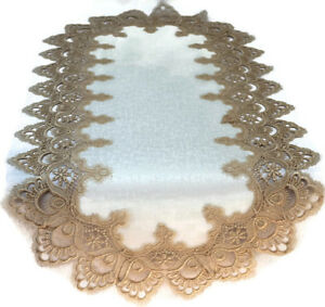 Doily Boutique Table Runner or Doily with Gold Lace and Antique White Fabric