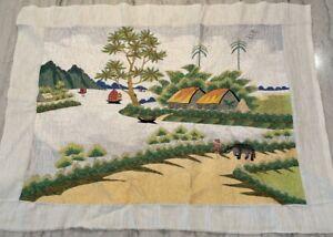Handmade Asian Crewel Vietnam Landscape Silk Embroidery Crewel 26x19.5 Beautiful