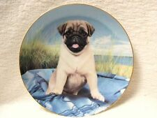 DANBURY MINT PUG DOG PLATE MANUFACTURED IN A LIMITED EDITION TITLE BEACH BLANKET