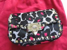 Valentino AUTH Rockstud Pink Black Leopard Mini Crossbody Shoulder Flap Bag NWT