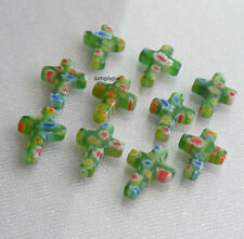 Green Cross Millefiori Glass Beads 10 Pcs