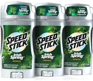 3 Ct Speed Stick 2.7 Oz Irish Spring Original Antiperspirant Deodorant Exp 9/20