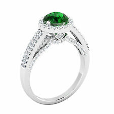 Natural 1.57 Ct Round Diamond Emerald Ring Solid 14K White Gold Gemstone Ring 8