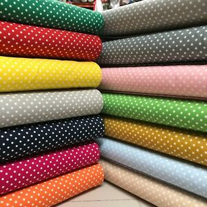 100% Superior Cotton Fabric 3-4mm Polka Dot * EXTRA WIDE 140cm wide 13 colours