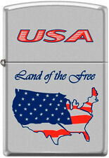 Zippo USA Flag Map LogoLand Of The Free Lighter Chrome RARE HARD TO FIND  NEW