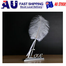 White Feather Signing Pen with Metal Love Holder Wedding Pen Set Registy AU