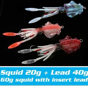 1PCS 15cm/60g Glow Soft Jigs Fishing Lures Pesca Salt Sea Fishing Wobbler Baits