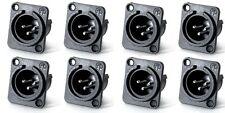 (8 Pack) Neutrik Nc3Mpp Male 3-Pin Xlr Panel Non-Latching Silver Contacts