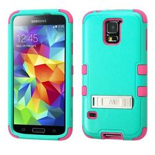 2014 * FOR Samsung Galaxy S5 TEAL GREEN PINK TUFF HARD SILVER STAND CASE COVER