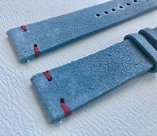 02 Straps Blue Vintage Suede Leather watch band strap 19mm Stainless Buckle