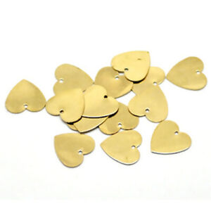 10 Heart Charms Stamping Blanks Brass Pendants Metal Stamping 13mm