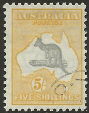 KANGAROO    5/- GREY & YELLOW  C of A WATERMARK    DIE11   CTO