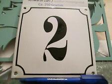 Hausnummer Emaille Nr. 2 schwarze Zahl auf weißem Hintergrund 14cm x 14cm .....