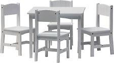 Table and 4 chairs - ENZO - Wooden Set Kids Children Play Cards White playcorner