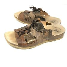 Think Womens 40 JULIA Gold Brown Lace Up Sandals Slides US 9 - 9.5 $168