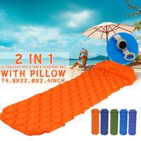 40D Nylon Beach Camping Inflatable Cushion Sleeping Pad Mat Air Mattress