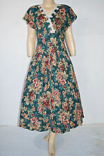 Vintage 50's Style 80's Made Rockabilly Green Flower Print Dress by Subtle Sz 8
