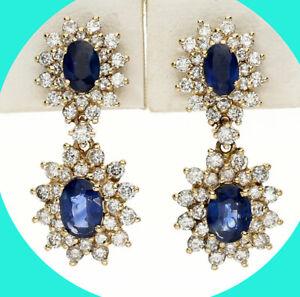 3.25CT GH diamond sapphire dangle drop earrings 14K YG halo oval birthstone