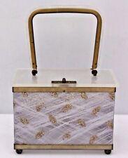 Vintage Lucite Purse Toro White Gold Glitter Evening Hand Bag