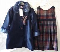 New Girls Winter Fur Coat Warm Dress Jacket Navy Formal Tartan 2Pc Set 2 to 8