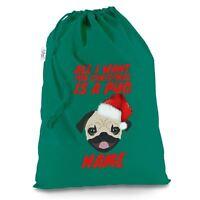 Want For Christmas Is A Pug Personalised Green Christmas Present Santa Sack