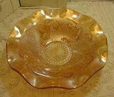 Vintage Jeanette Iris & Herringbone Ruffled Bowl Carnival Glass FloraGold 11 1/2