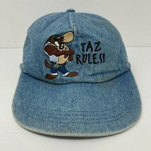 Vintage Taz Rules Hat Denim Looney Tunes Cap Scrunchie Back Tasmanian Devil