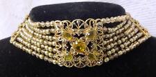 Vtg MONET with SWAROVSKI Crystals Open Back Riviera Gold Tone Choker Necklace