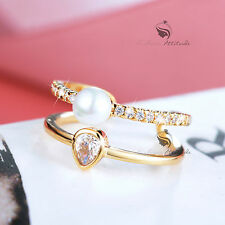 18K Yellow Gold double band Simulated Diamond up finger ring free size