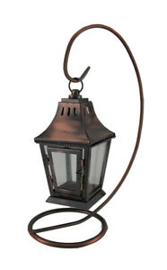Scratch & Dent Antique Copper Finish Metal Candle lantern and Stand