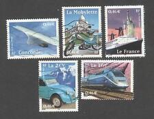 France oblitérés Le siècle au fil du timbre -Transports- N°3471à 3475 -2002 -TB