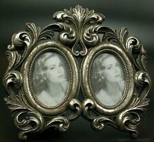 Bilderrahmen Fotorahmen 2 Fotos oval silber Deko Antik Rokoko Barock Design Stil