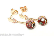 9ct Gold Red Chinese Enamel Ball drop earrings Gift Boxed Made in UK