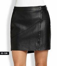Genuine Soft Lambskin Leather  Asymmetrical Zip Front Skirt