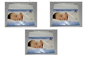 x3 Bibs & Stuff Sheet & Mattress Protector Soft Flannel Cotton Pram/Crib 50x75cm