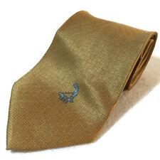 Pinehurst Country Club Golf Logo Gold Silk Neck Tie Basketweave Pattern