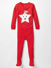 GAP Baby Girls Size 6-12 Months Red Christmas Footed One-Piece Bodysuit Pajamas