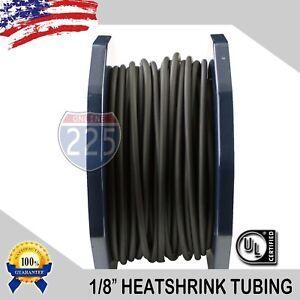 "100 FT. 100' Feet BLACK 1/8"" 3mm Polyolefin 2:1 Heat Shrink Tubing Tube Cable UL"