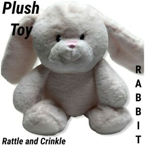 Bunny Rabbit Pink Plush Toy Stuffed Animal Rattle Floppy Crinkle Ears Kellybaby